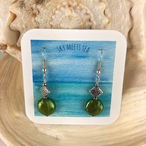 Sky Meets Sea Freshwater Green Pearl Earri…